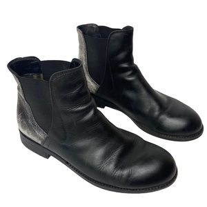 FLY London Black Silver Leather Chelsea Boot